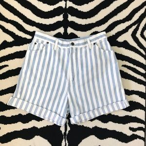 Vintage High Waisted Striped Jean Shorts